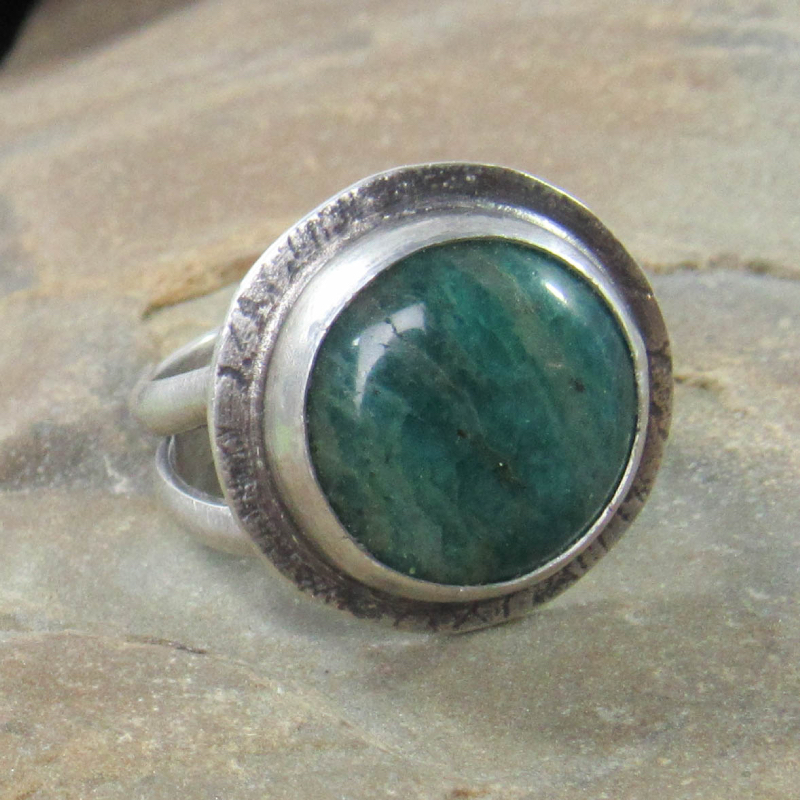 Sterling silver and amazonite ring