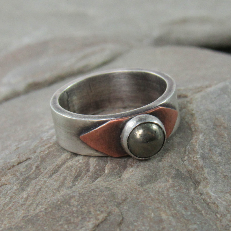 Sterling silver, copper, and pyrite ring