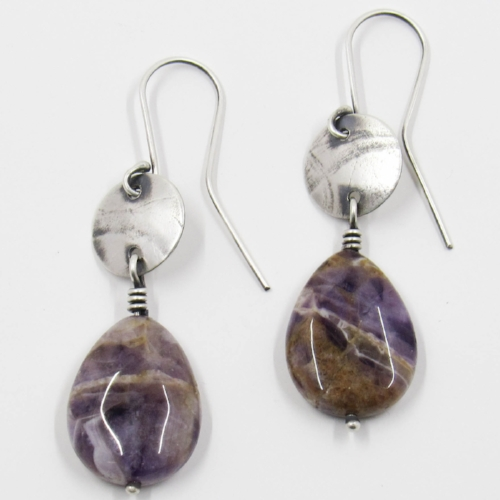 Silver and dogtooth amethyst earrings by Riin Gill Design