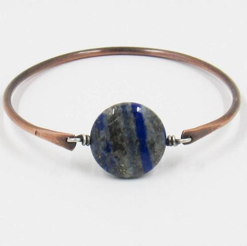 Copper and lapis lazuli bracelet