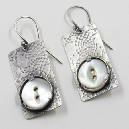 Sterling silver earrings with antique mother of pearl buttons