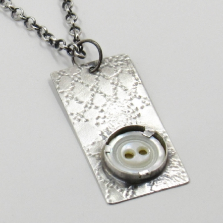 "Sterling silver pendant with 1/2"" antique mother of pearl button"
