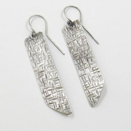 Silver crosshatch earrings
