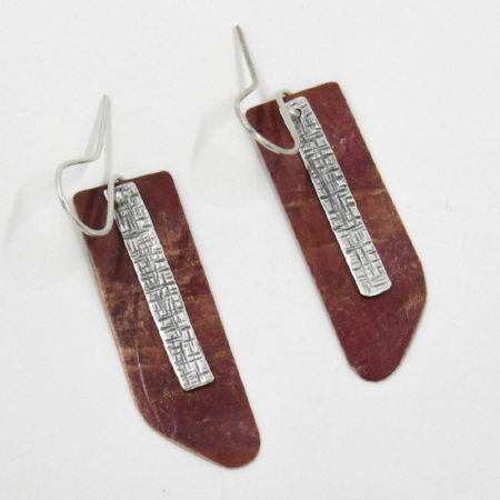 Copper with heat patina & silver crosshatch earrings by Riin Gill Design