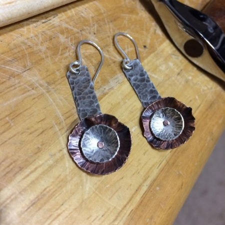 Silver and copper flower earrings