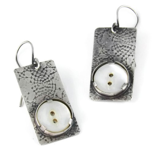 Sterling Silver Earrings With Antique Mother Of Pearl Buttons Riin