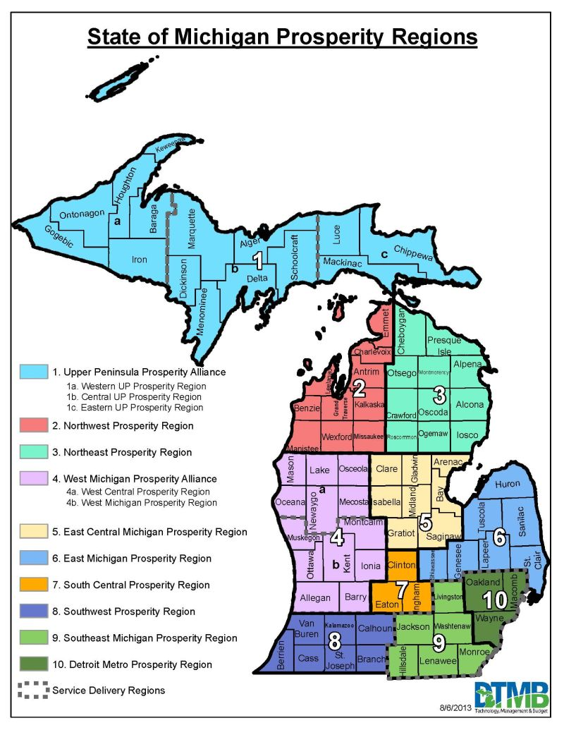State of Michigan Prosperity Regions, click to enlarge