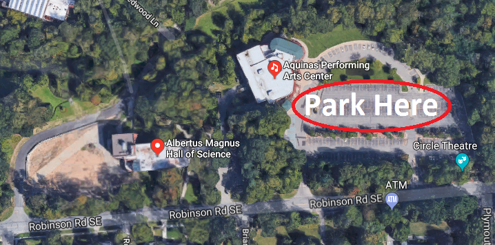 Parking available just east of Albertus Hall at the Performing Arts Center Parking Lot.
