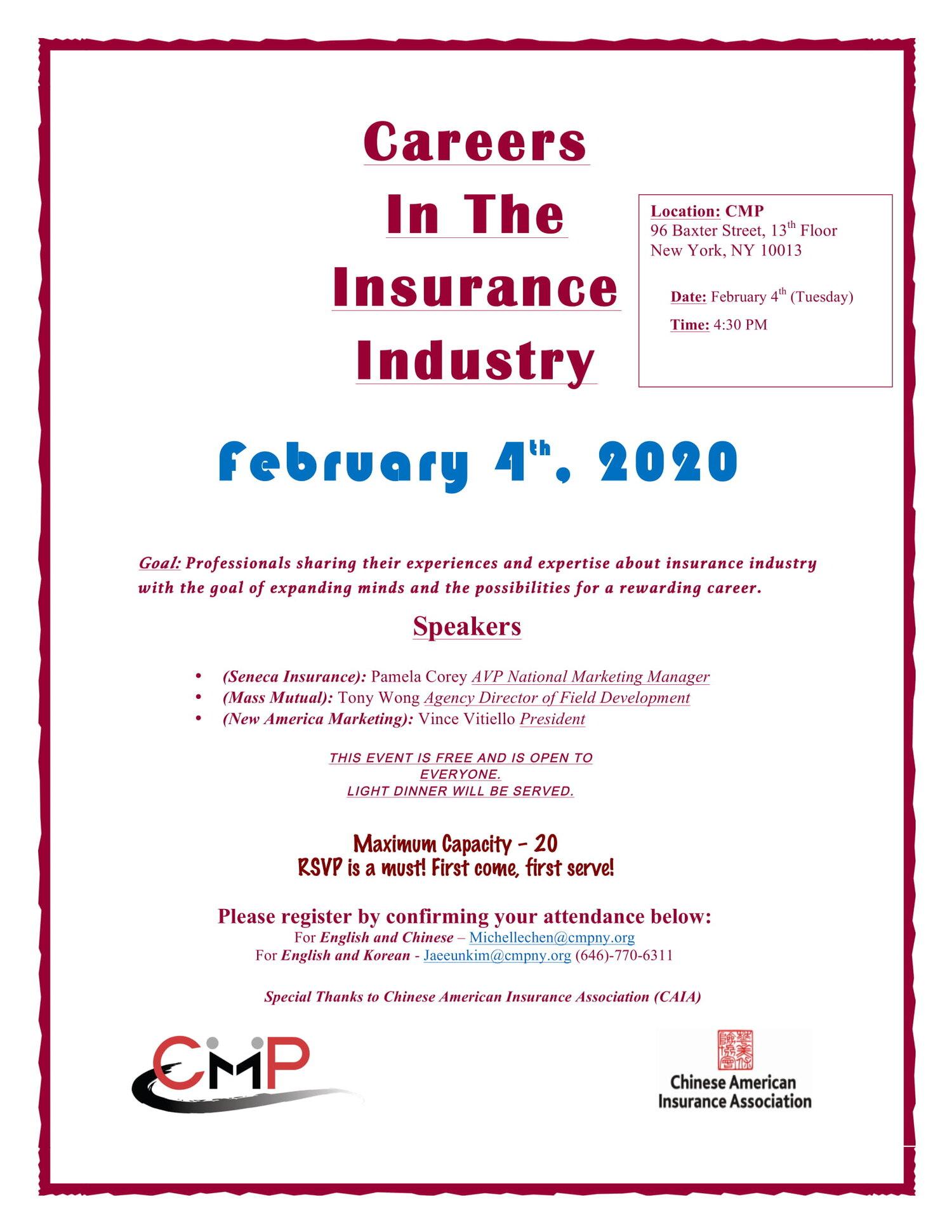 Insurance Careers Workshop Cmp