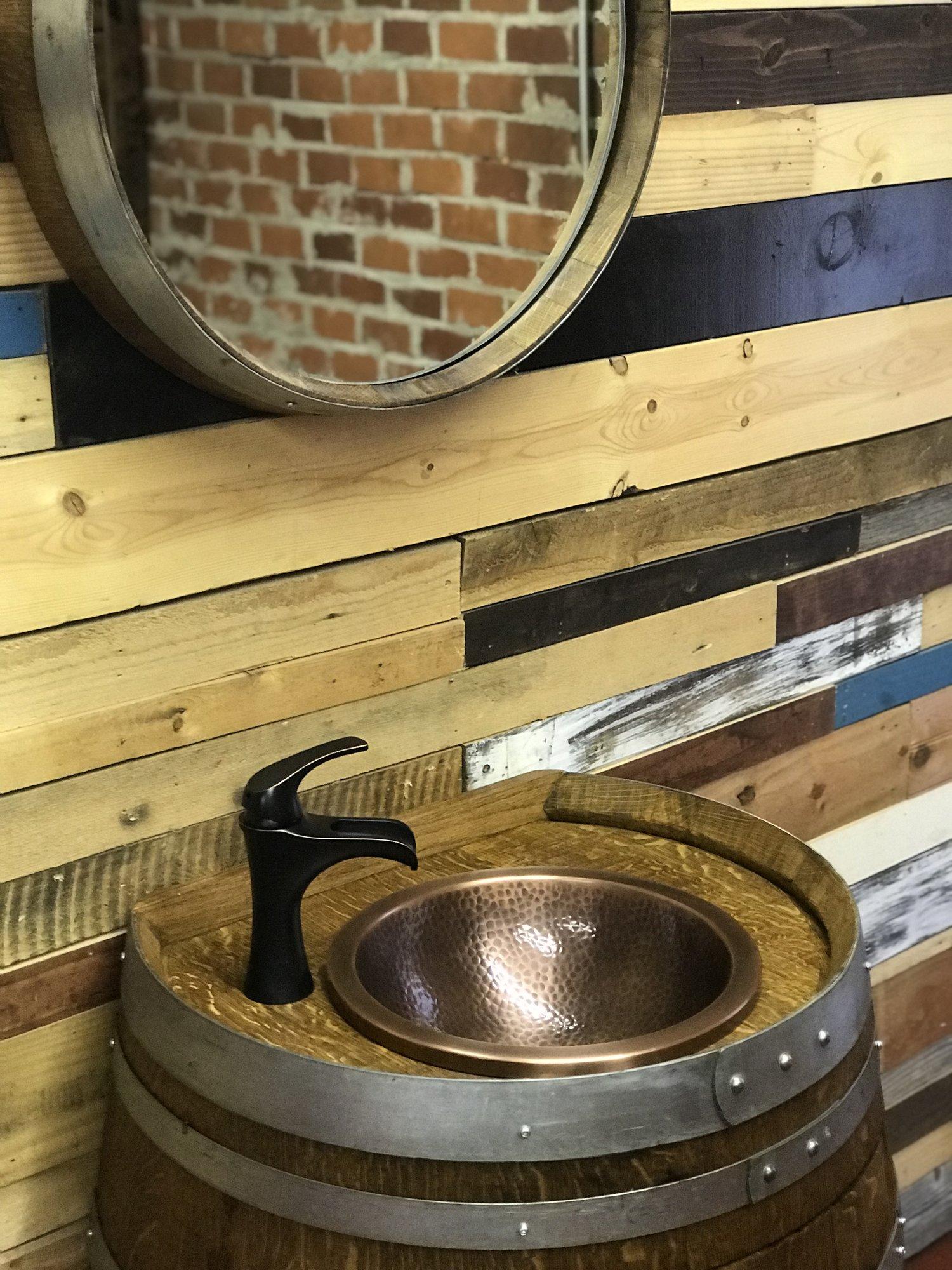 22- inch Deep Wine Barrel Copper Sink Vanity with Hammered Copper ...