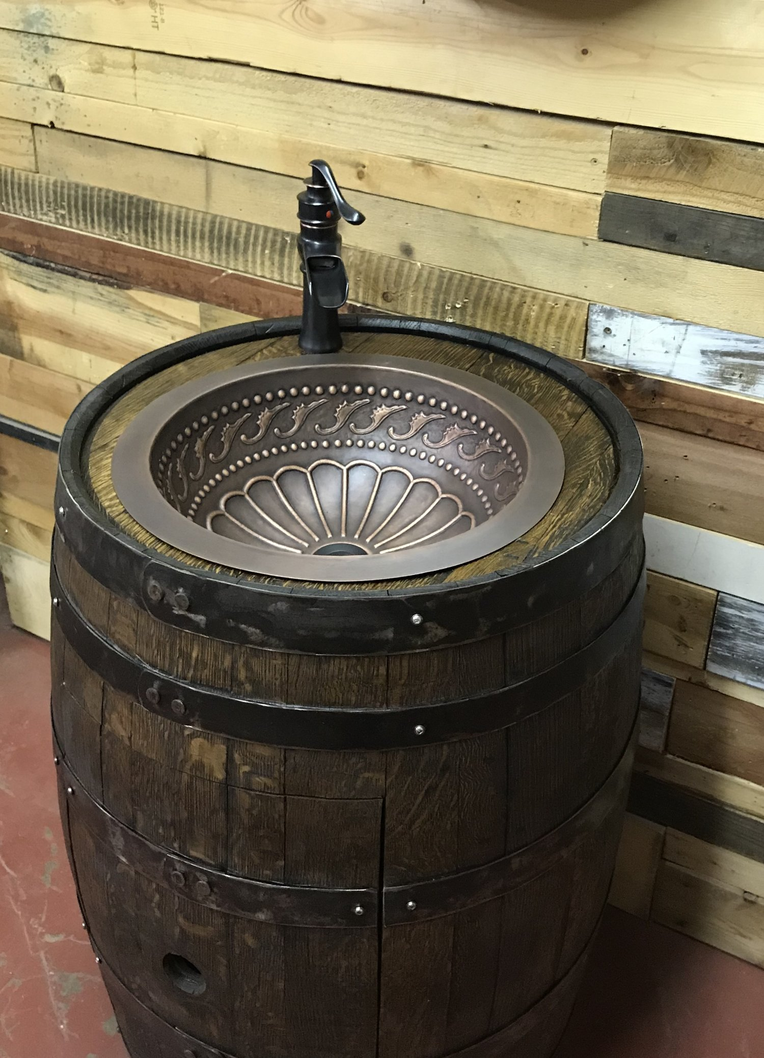 Whiskey Barrel Copper Sink Vanity with Antique Waterfall Faucet ...