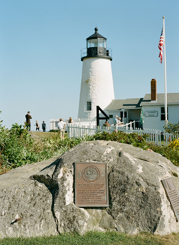Pemaquid Lighthouse, on a sunny day, on coastal new England in New Harbor Maine.
