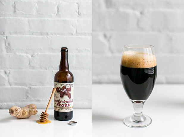 Product photography of beer with ingredients used to make it including ginger and honey.