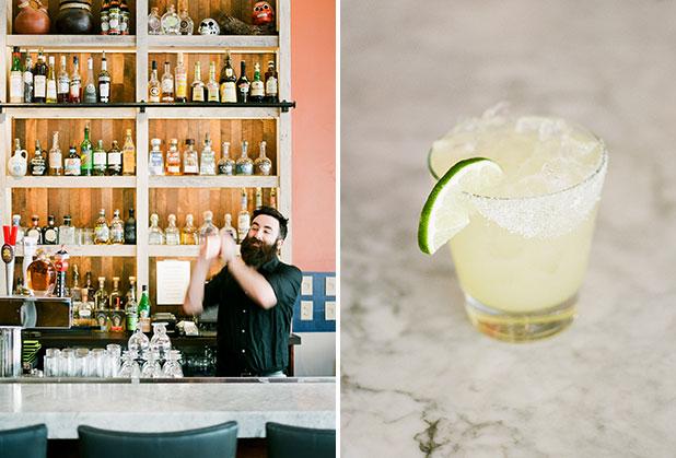 Bartender shakes up a margarita at Maya's - Sarah Der