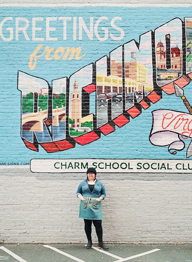Meryl Hillerson Greetings from Richmond Virginia mural outside Charm School Social Club - Sarah Der