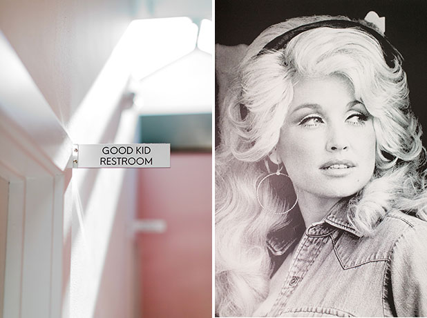 Detail shots of Dolly Parton and Good Kids bathroom - Sarah Der