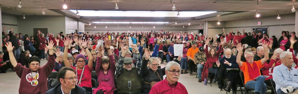 A packed hearing room in Jackson County shows overwhelming opposition to the Jordan Cove LNG project.
