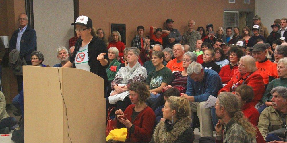 Lesley Adams testifies in packed room at 2015 FERC hearing.