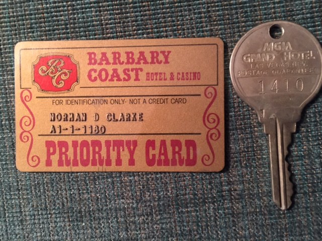 I SPENT THE NIGHT AT THE BARBARY COAST AFTER COVERING THE MGM FIRE. ABOVE: MGM ROOM KEY 1410, GIVEN TO ME BY SURVIVOR RANDY HOWARD IN 2008 AFTER HE RETURNED TO LAS VEGAS FOR THE FIRST TIME SINCE THE FIRE.PHOTO: NORM CLARKE