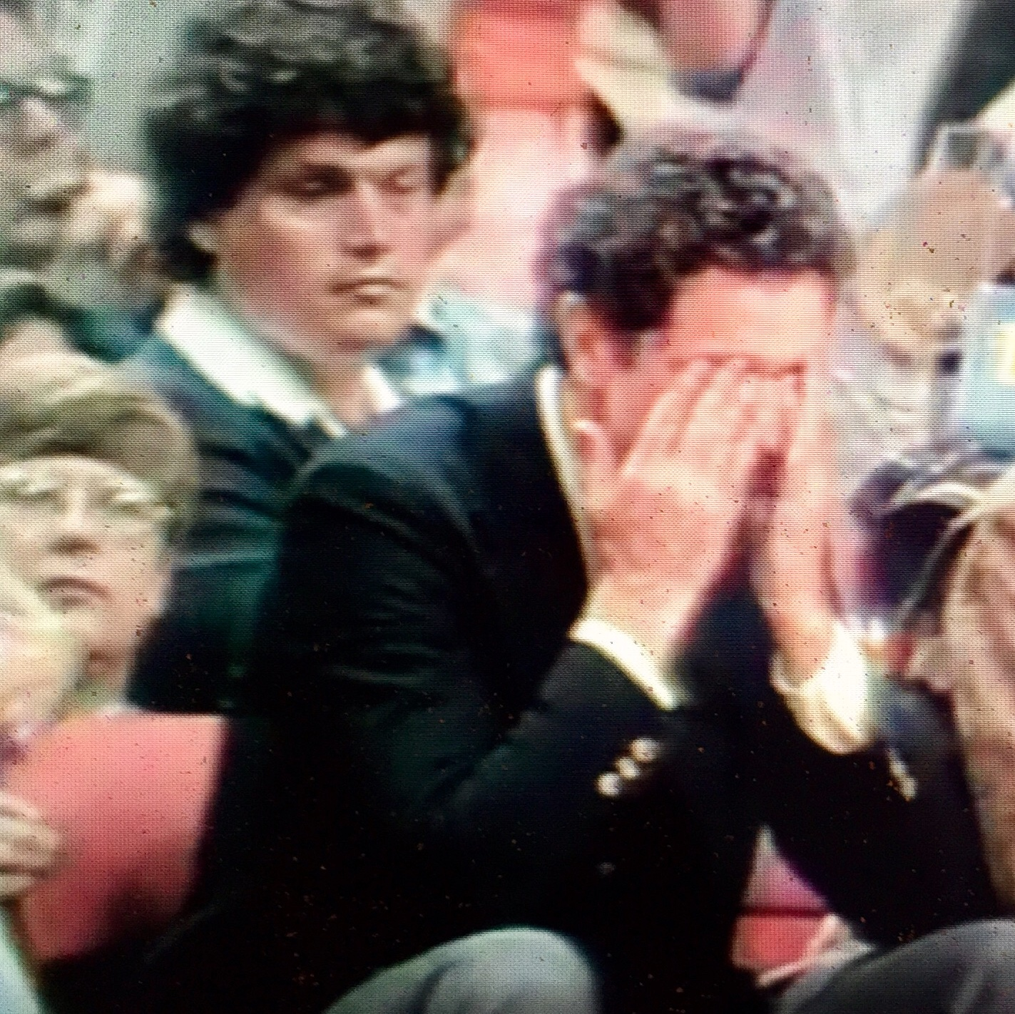 Marquette coach Al McGuire broke down in tears when Marquette won the NCAA Final Four in 1977. Norm Clarke, then with The AP, seated behind him.