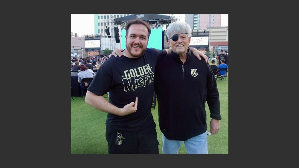 "WITH MY GOOD FRIEND, SHAWN TEMPESTA OF KTNV-TV, CHANNEL 13'S ""MORNING BLEND"" AT THE GOLDEN KNIGHTS' VIEWING PARTY AT THE DOWNTOWN LAS VEGAS EVENTS CENTER ON MONDAY. PHOTO: Scooter the Beerguy"