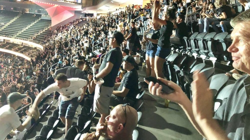 GOLDEN KNIGHTS FANS CELEBRATING ONE OF THEIR TWO GOALS IN A 6-2 GAME 4 ROUT. Photo: Norm Clarke