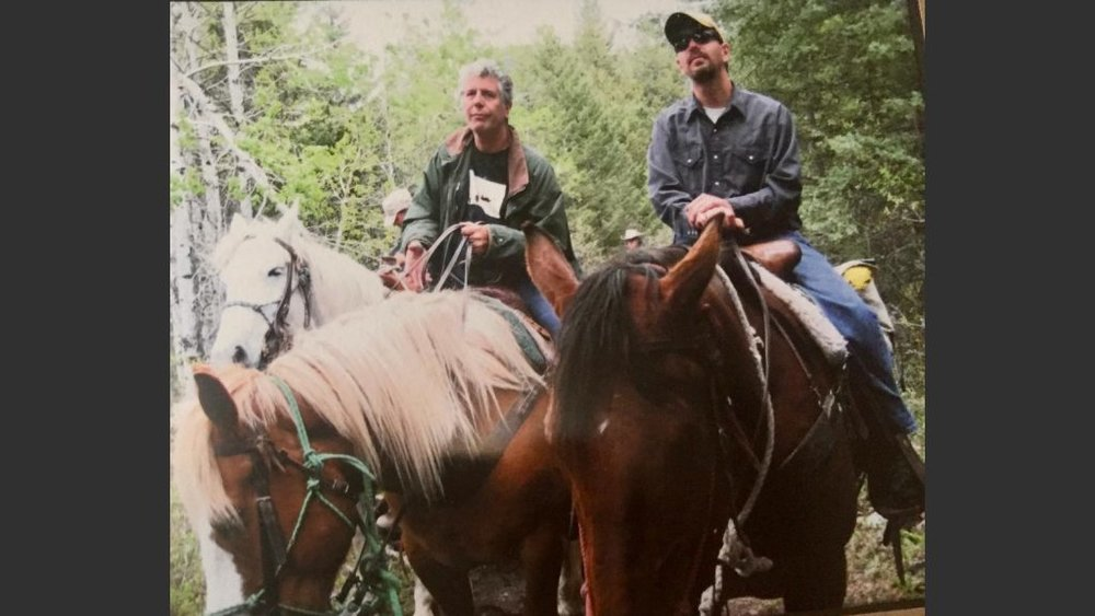 Anthony Bourdain horseback riding in the Livington, Montana area in 2009.