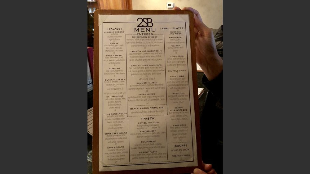 Sunday's menu at the 2nd Street Bistro.