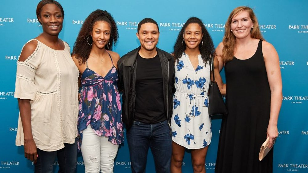 "The Daily Show"" host Trevor Noah met with members of the Las Vegas Aces after his show at the MGM Park. From left: Rushia Brown, Jaime Nared, Noah, Nia Coffey and Carolyn Swords. Photo: Al Powers"