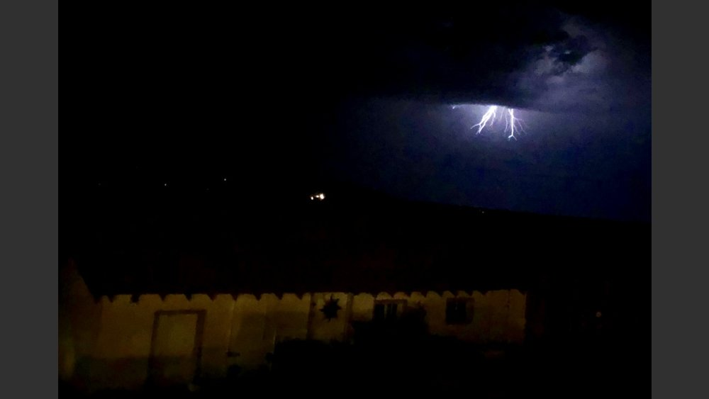 Midnight lightning over the barn on the 4th of July.