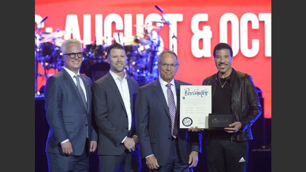 "Lionel Richie Presented with the Key to Las Vegas' Iconic Strip; August 15 Declared as ""Lionel Richie Day"" by Clark County Commissioner Jim Gibson  Photo: Bryan Steffy"