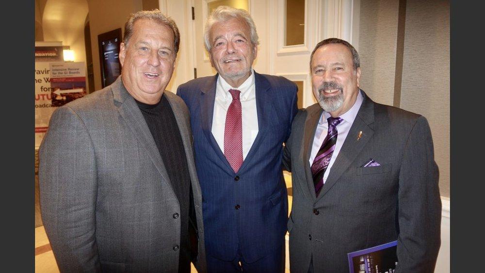 Las Vegas radio and TV legends Mike O'Brian (KKLZ radio), George Knapp (KLAS-TV) and Alan Stock (KXNT).