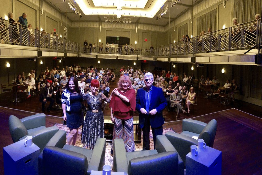 """Crowd shot of """"Conversations with Norm"""" on September 16 """"Remembering Three Legends: Marty Allen, Robert Goulet and Jerry Lewis."""" From left: Jerry's daughter Danielle, Robert's wife Vera, Marty's wife Karon Kate Blackwell and host Norm Clarke. Photo:  Jerry Metellus"""