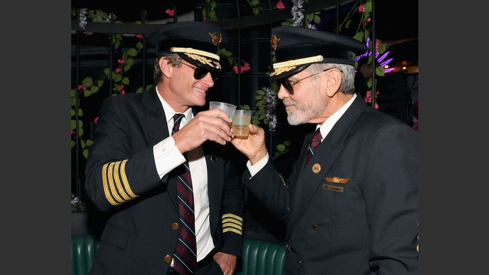 Gerber and Clooney toasting an epic party.