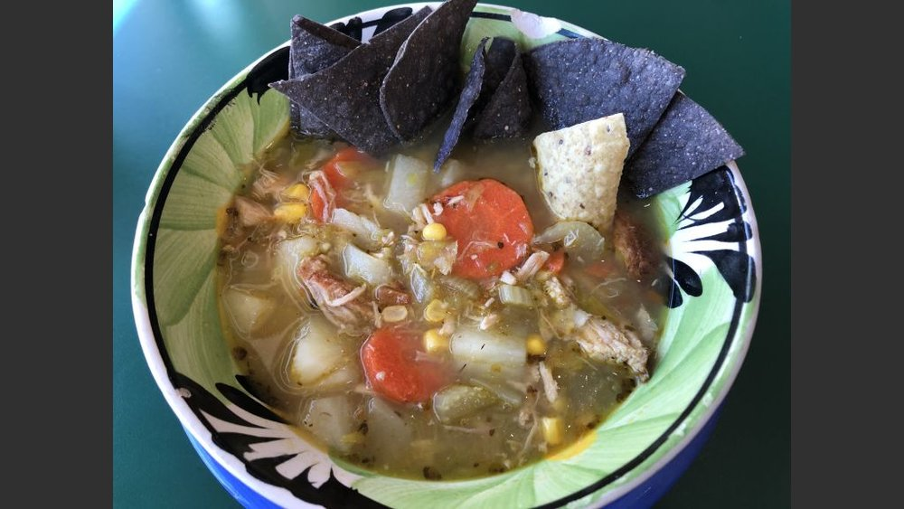 Copy of Green Chile Corn Chowder at the Burrito Cafe.