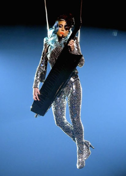 Lady Gaga dropped down from the ceiling  on aerial cables. Photos: Getty Images