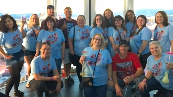 Shanna McPheters, center front row, with her husband, Gary, red shirt, on a High Roller pod with a group marking the 21st birthday of the McPheters' daughter, Brooke. Photo: Courtesy