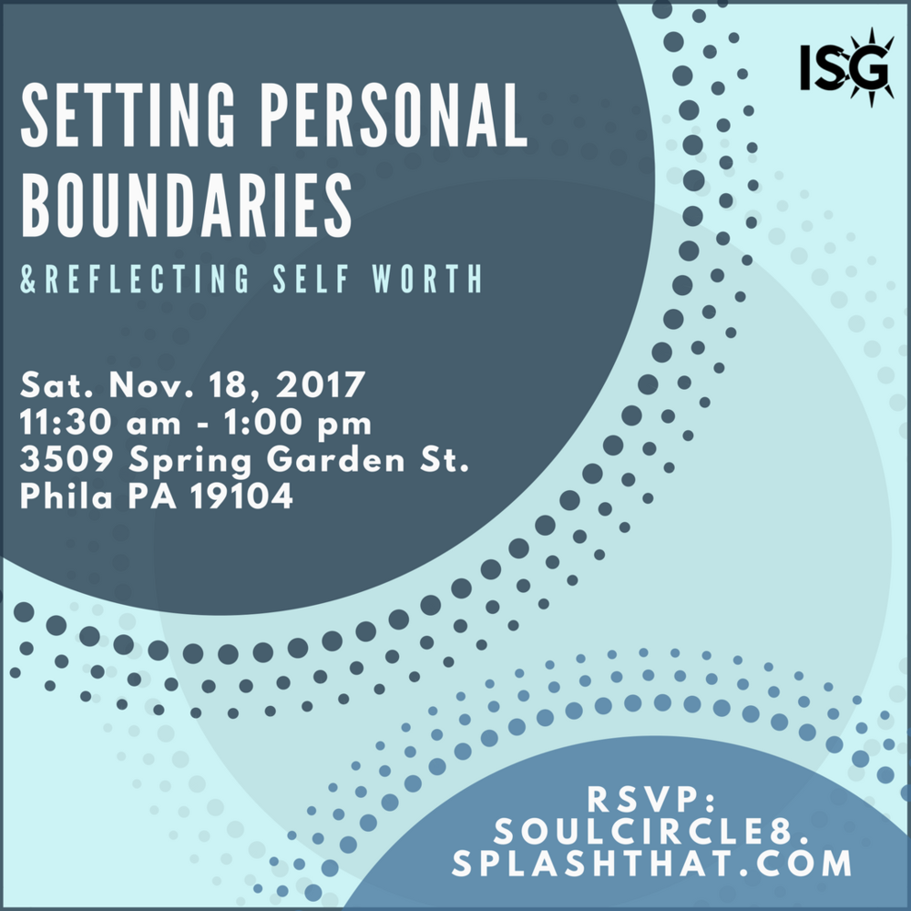 Join us for a session about Setting Personal Boundaries & Reflecting Self Worth. As we started planning this workshop, we found that the information would be best covered across a series! So this circle will be focused on identifying core values & creating your value pitch    If you'd like to attend, please RSVP  here ! We'll be starting it off with a music-guided meditation. Please feel free to bring a yoga mat (not required) and dress comfortably. Also, please be encouraged to bring diaries or journals for personal writing (also, not required).