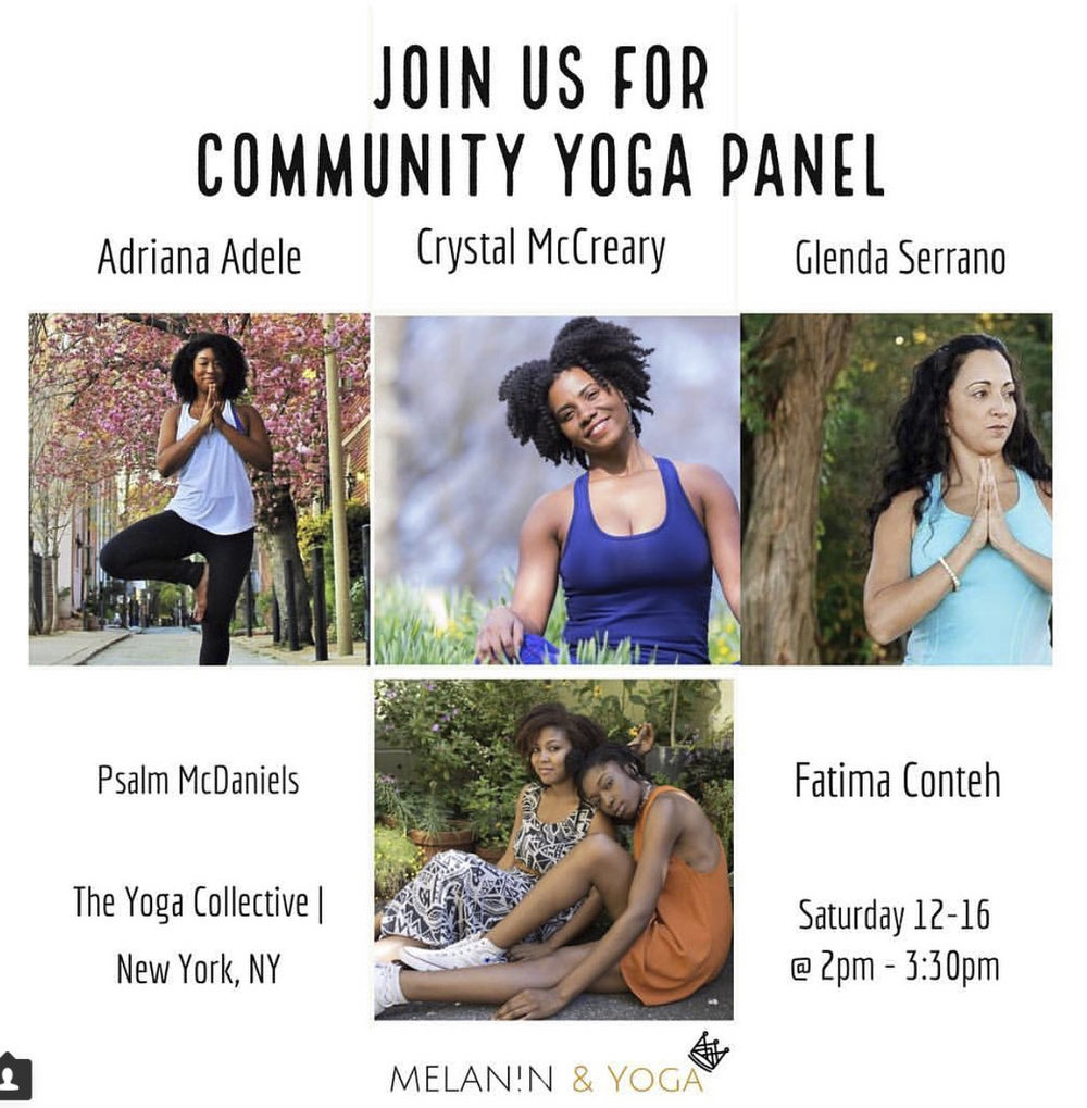 We will be a part of Melanin & Yoga's first community panel with powerful group of lovely women of color! Join us as we chat about hot topics such as diversification in yoga, community-building, identifying interested in underserved, communities, & the future of practice.  RSVP  here !