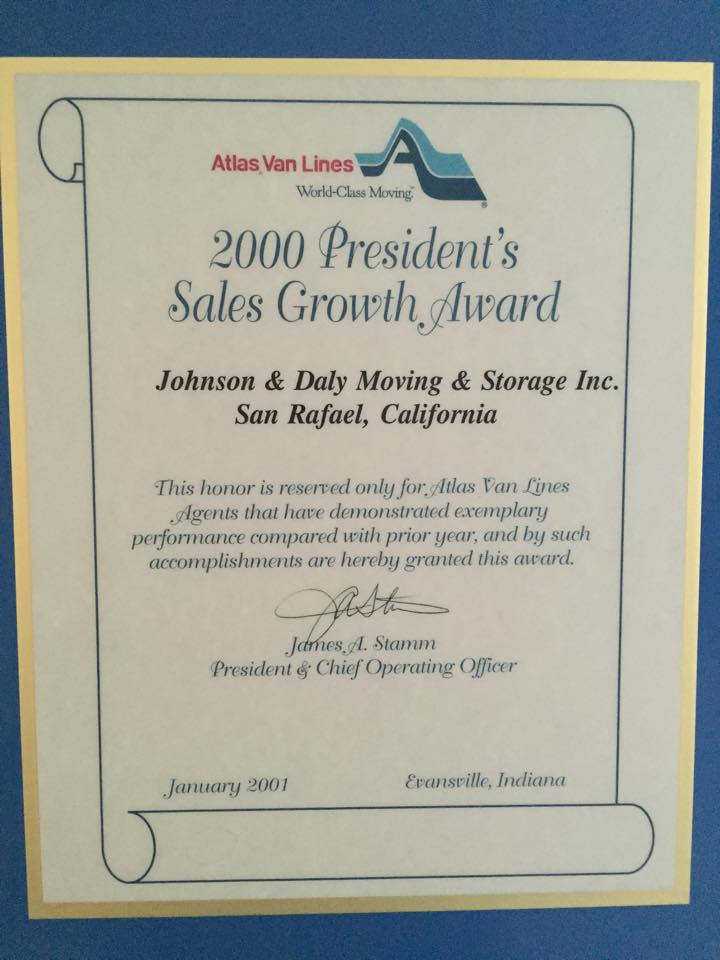 2000 President's Sales Growth Award