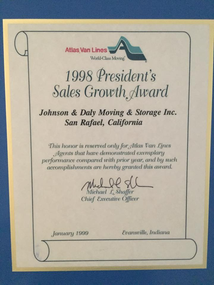 1998 President's Sales Growth Award