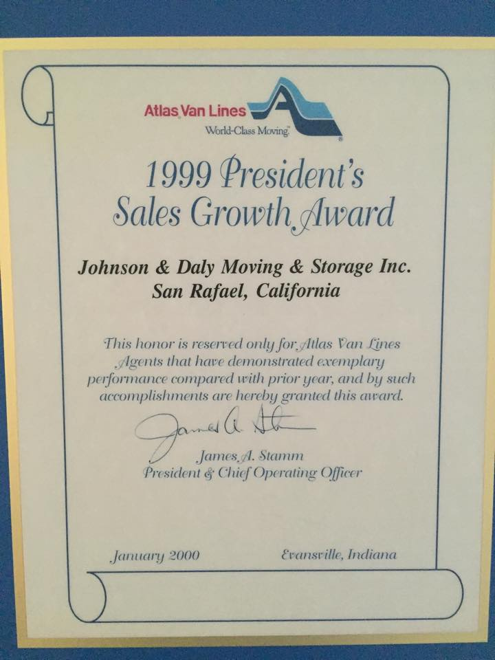 1999 President's Sales Growth Award