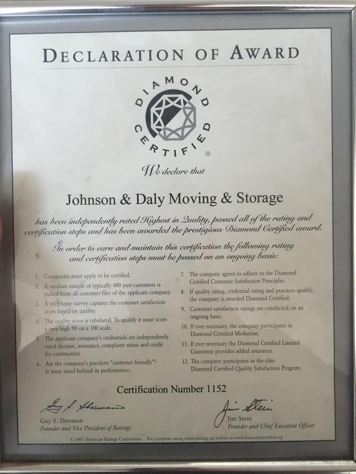 Awards & Accreditation | Johnson & Daly Moving and Storage
