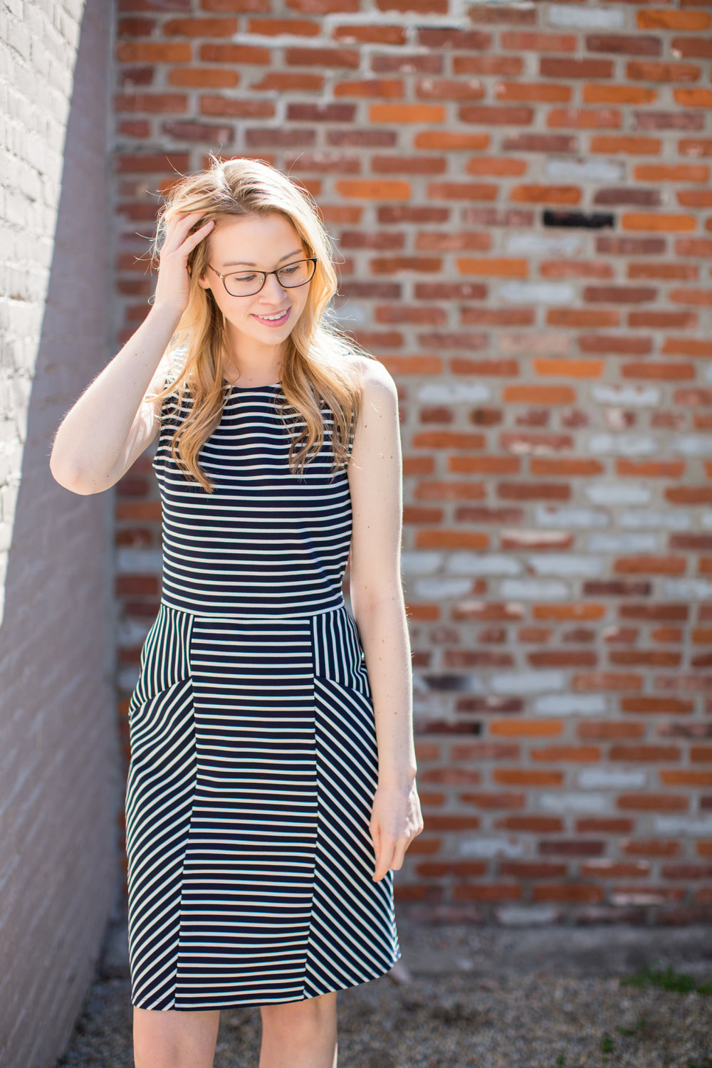Panel Dress in Striped Ponte, Leota New York.