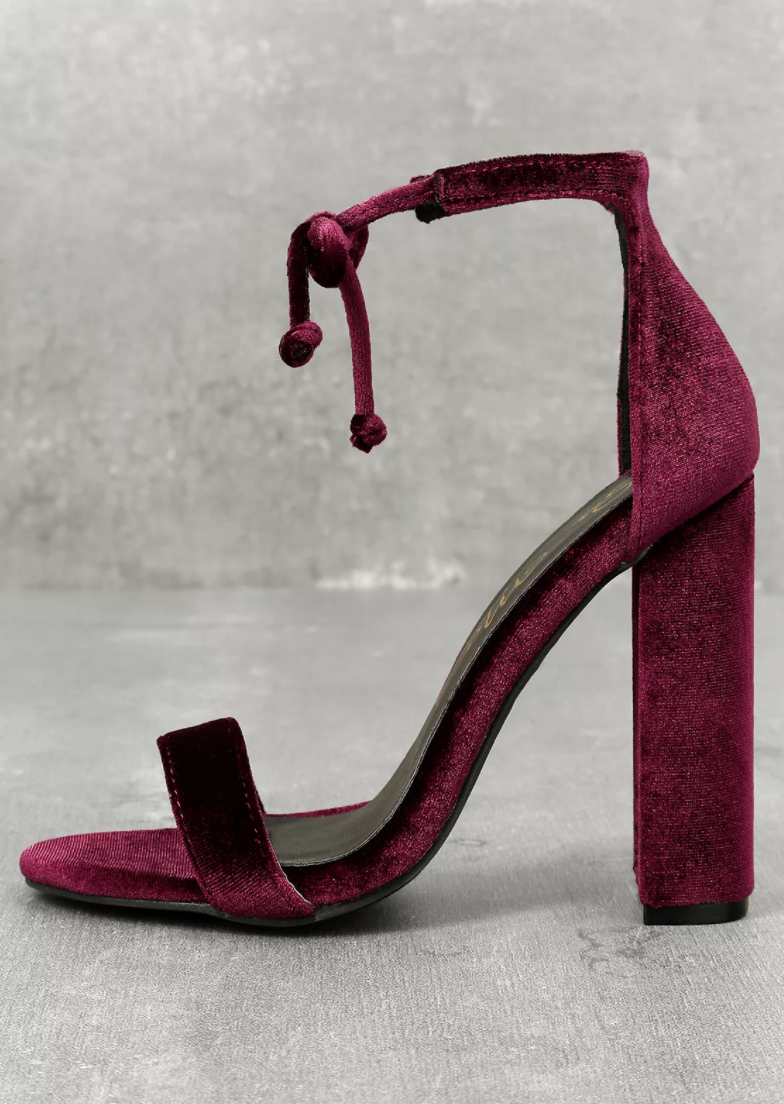 So Me - Gracie Wine Velvet Lace-Up Heels.