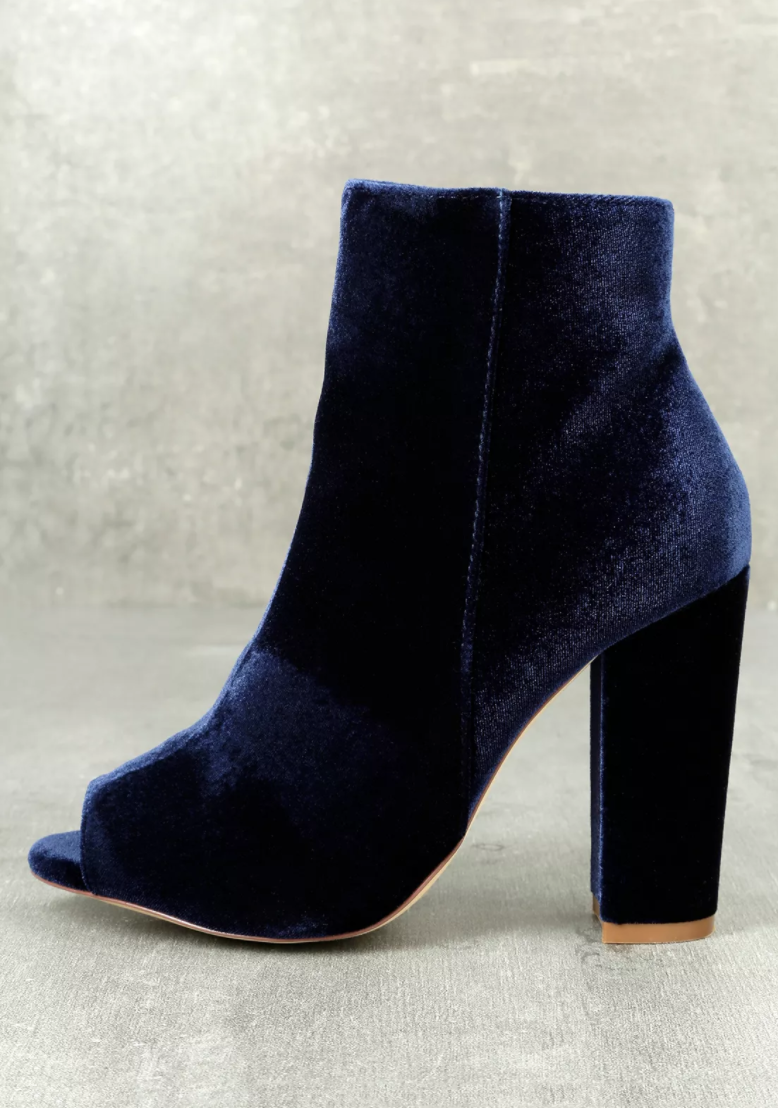 Olivia Jaymes - Millie Blue Velvet Peep-Toe Ankle Booties.