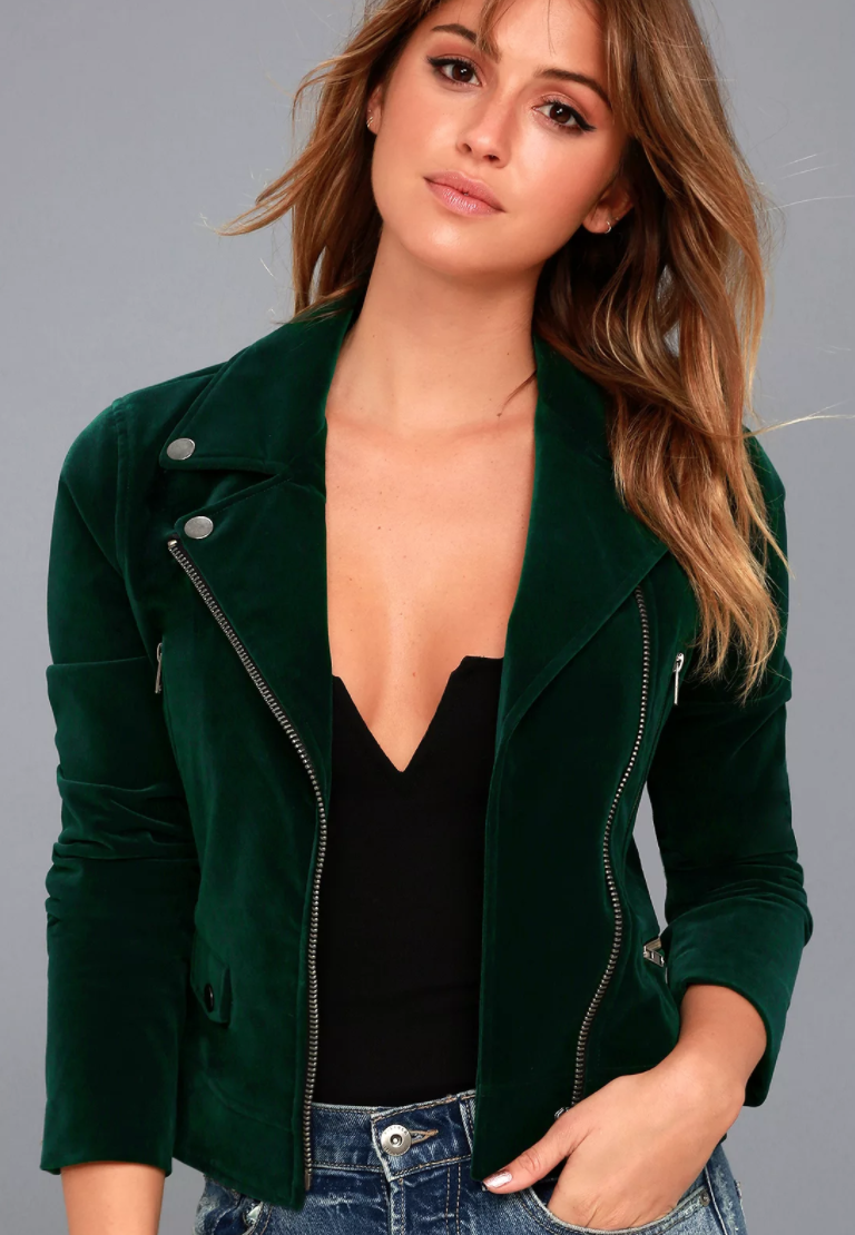 Lulus - Style Icon Forest Green Velvet Moto Jacket.