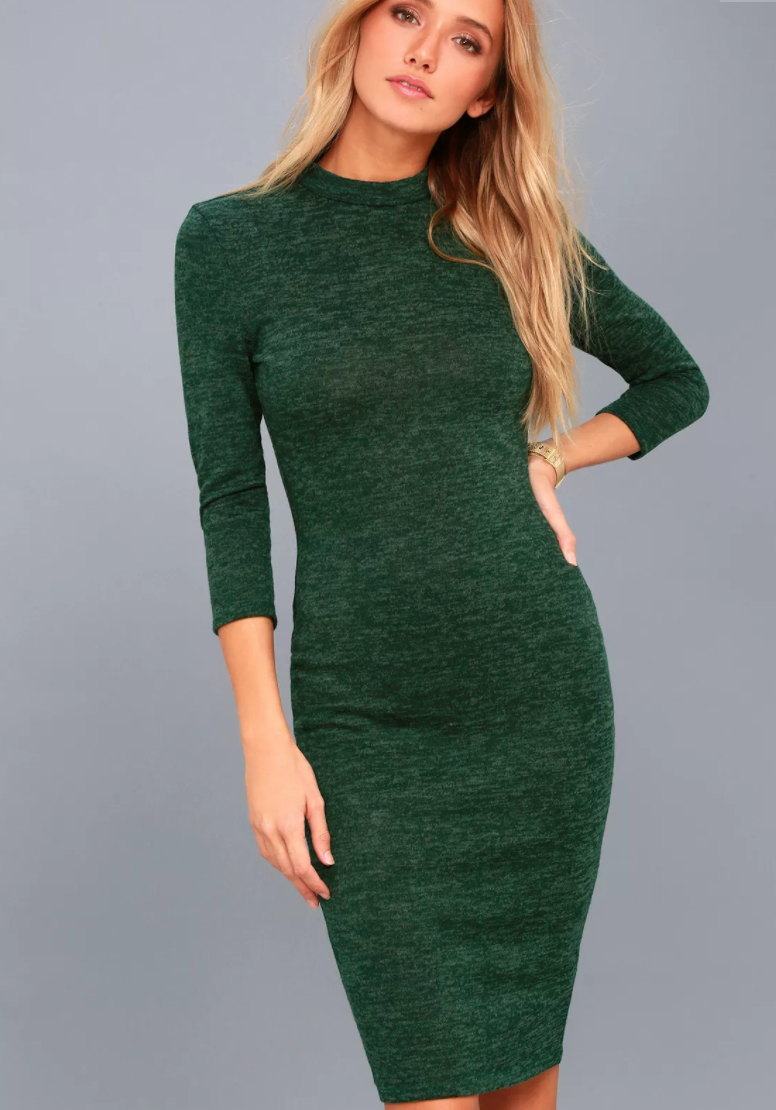 Lulus - Modern Marl Dark Green Bodycon Midi Dress.