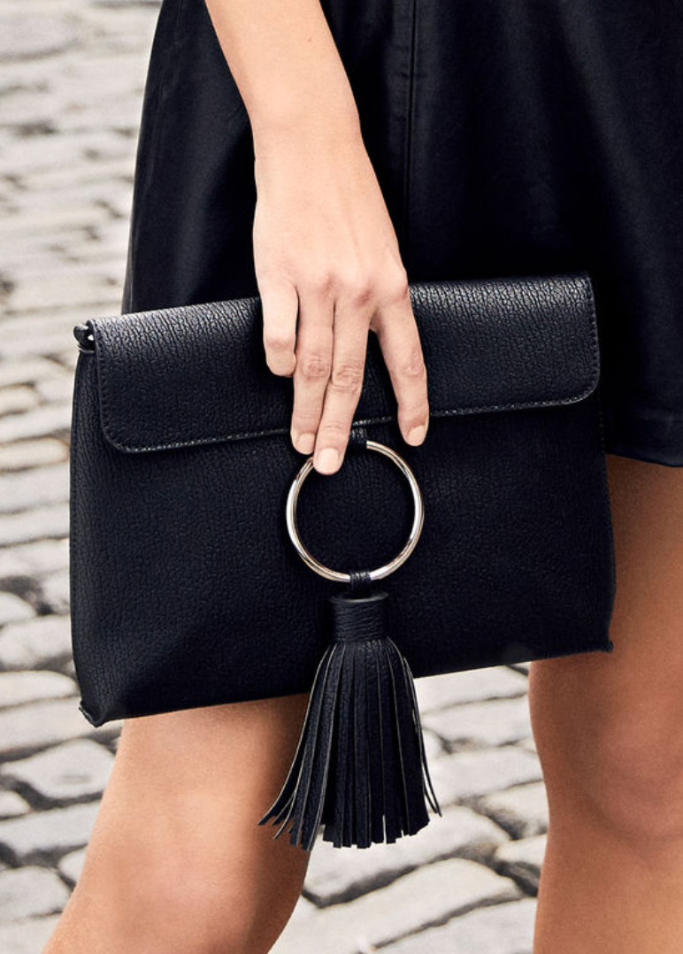 Lulus - Next Big Thing Black Tassel Clutch - Vegan Friendly.