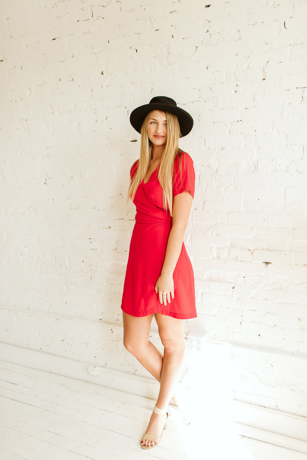 RACY RED WRAP DRESS